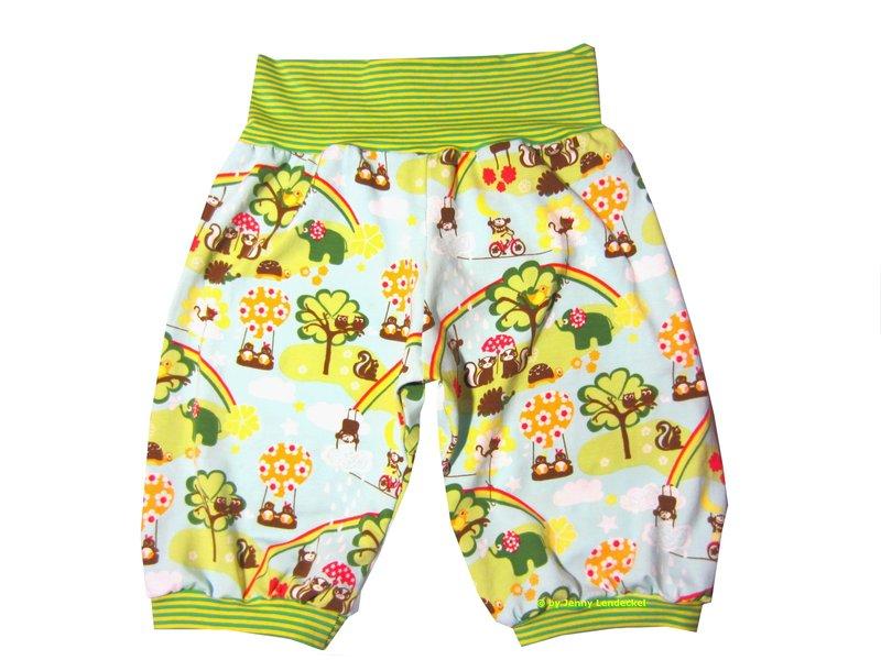 Schnittmuster kurze Pumphose nähen, für Kinder und Babys
