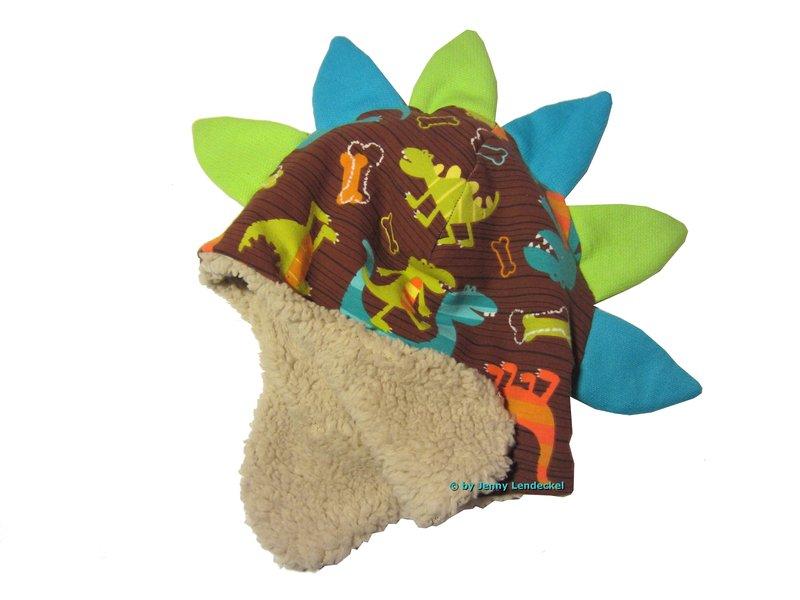 Dino-Mütze und Loop, Drachenmütze nähen, Schnittmuster