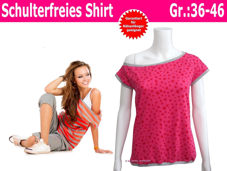 Schulterfreies Damen Shirt nähen - Schnittmuster Damen Shirt