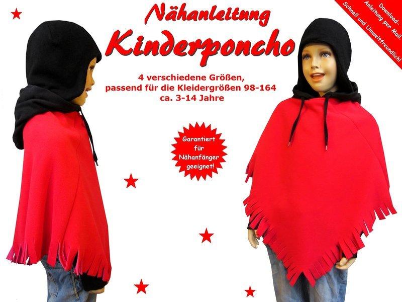 Kostenloses Schnittmuster Kinder-Poncho nähen