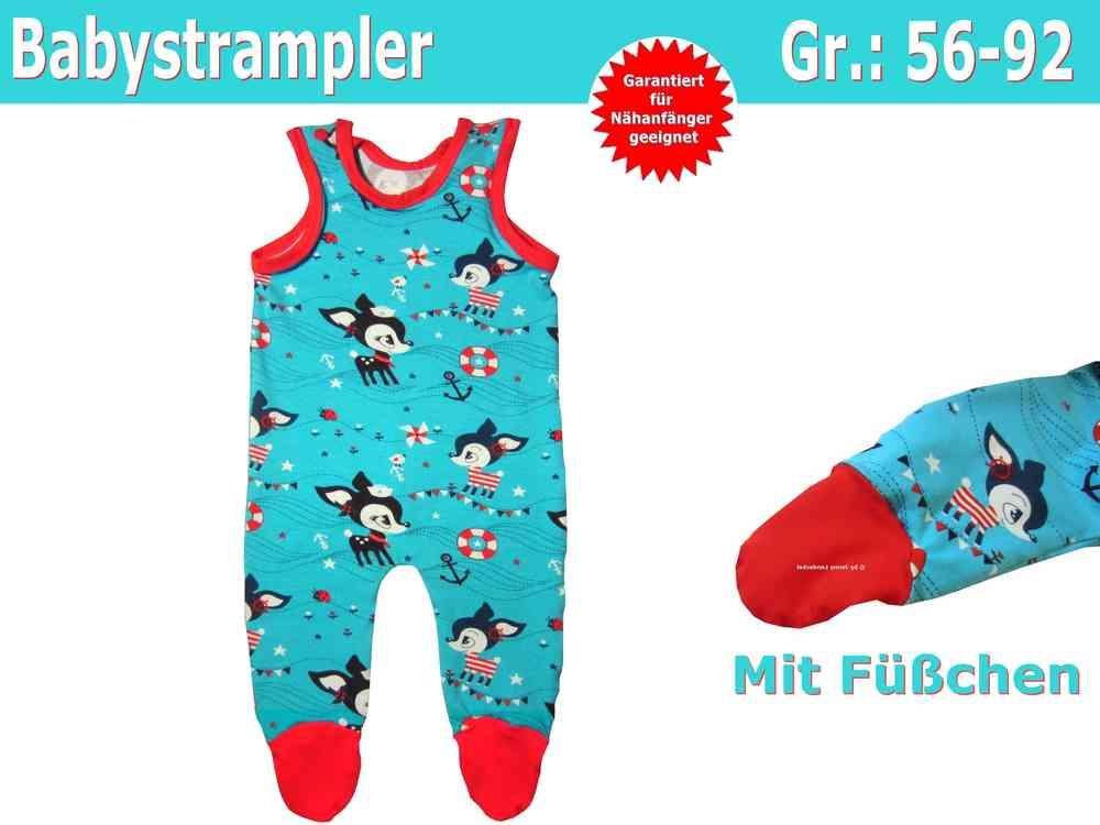 Baby Strampler mit Füßchen - Schnittmuster Strampler nähen