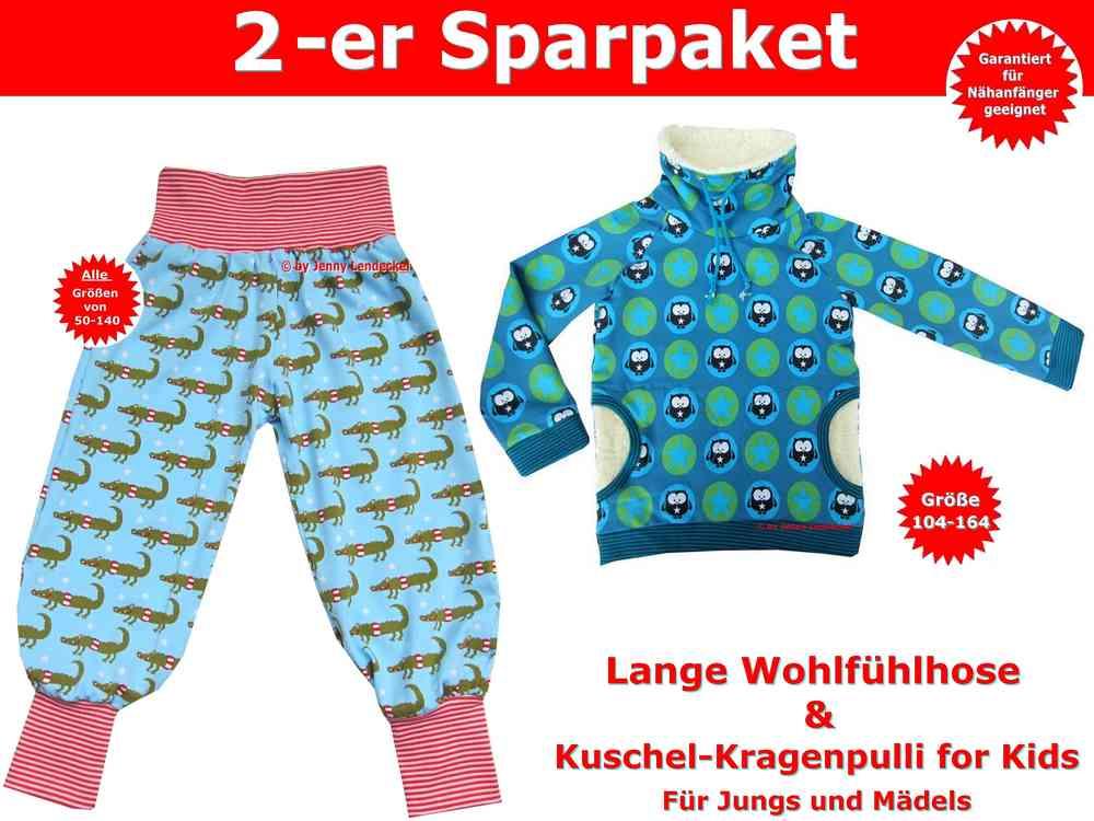 Kragenpulli & lange Pumphose für Babys & Kinder - Schnittmuster