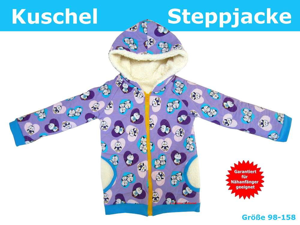 Gefütterte Jacke/Steppjacke für Kinder, Schnittmuster